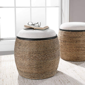 Island Straw Accent Stool