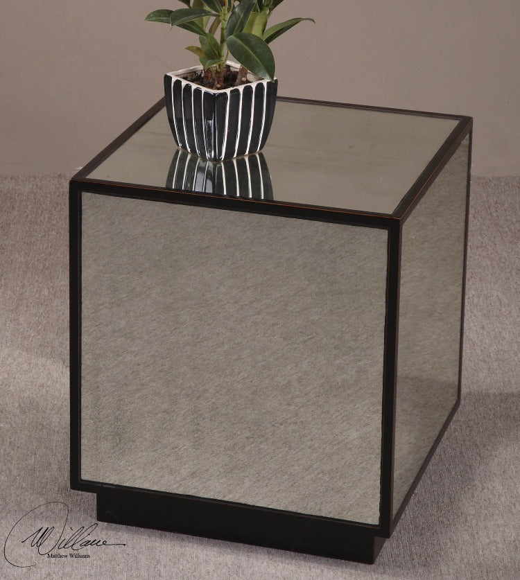 Matty Mirrored Cubed Table