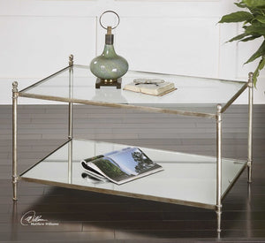 Gannon Mirrored Glass Coffee Table - taylor ray decor