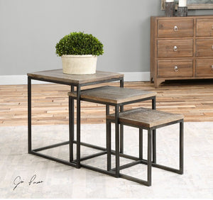 Bomani Wood Nesting Tables Set/3 - taylor ray decor