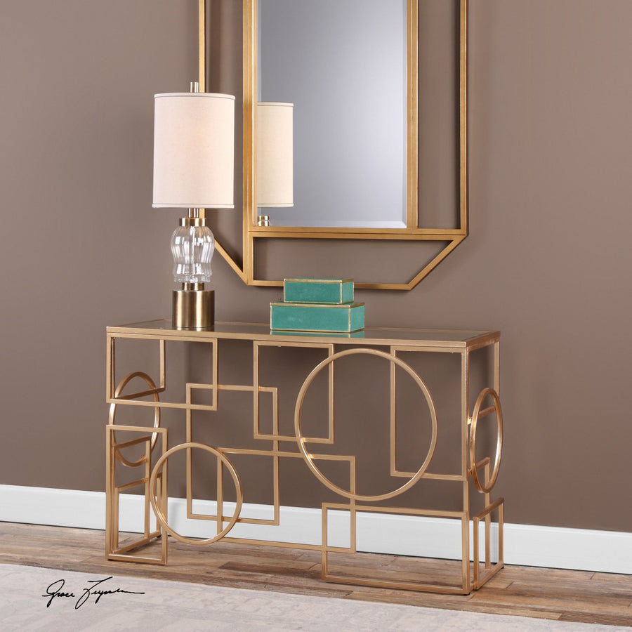 Metria Gold Console Table - taylor ray decor