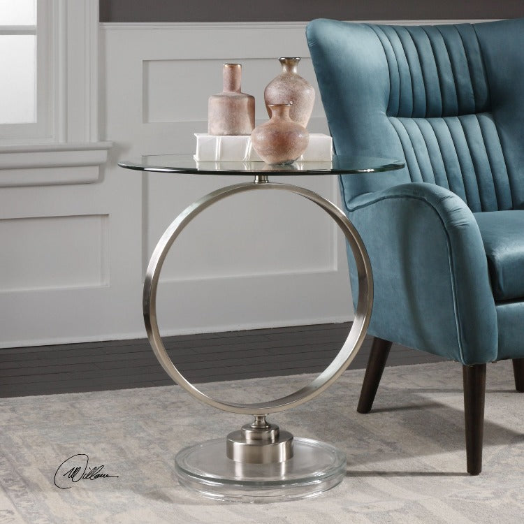 Dixon Brushed Nickel Accent Table - taylor ray decor