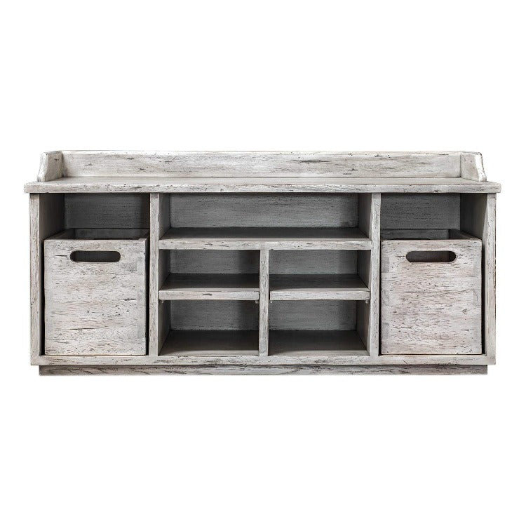 Ardusin Distressed Hobby Bench in White - taylor ray decor