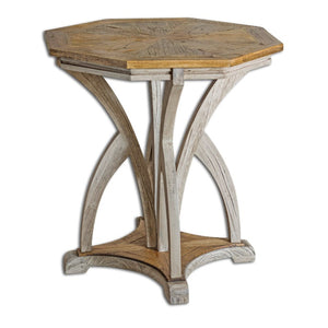 Ranen Aged White Accent Table