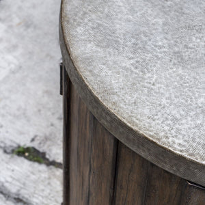 Maxfield Wooden Drum Accent Table