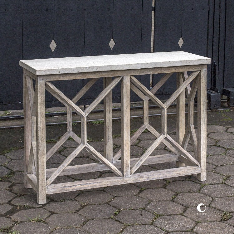 Catali Ivory Stone Console Table - taylor ray decor