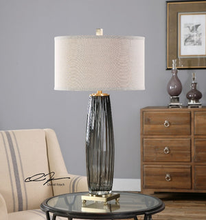 Vilminore Gray Glass Table Lamp - taylor ray decor