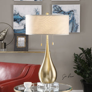 Lagrima Brushed Brass Lamp