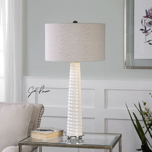 Mavone Gloss White Table Lamp - taylor ray decor