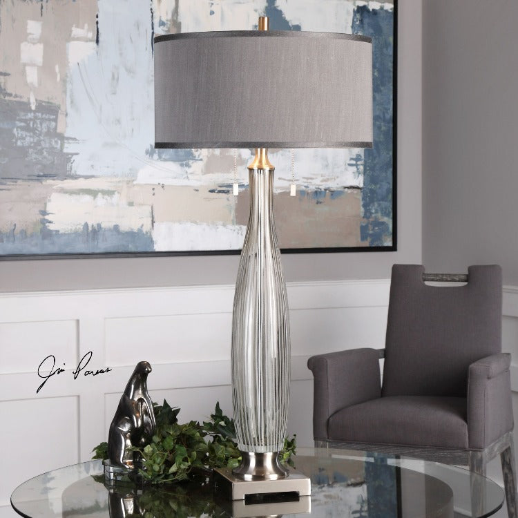 Coloma Gray Glass Table Lamp