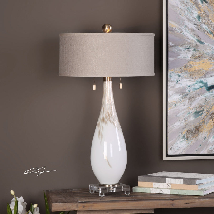Cardoni White Glass Table Lamp