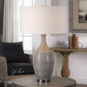 Dinah Gray Textured Table Lamp - taylor ray decor