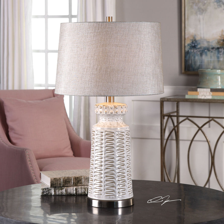 Kansa Distressed White Table Lamp