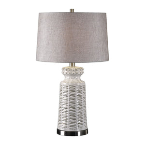 Kansa Distressed White Table Lamp - taylor ray decor