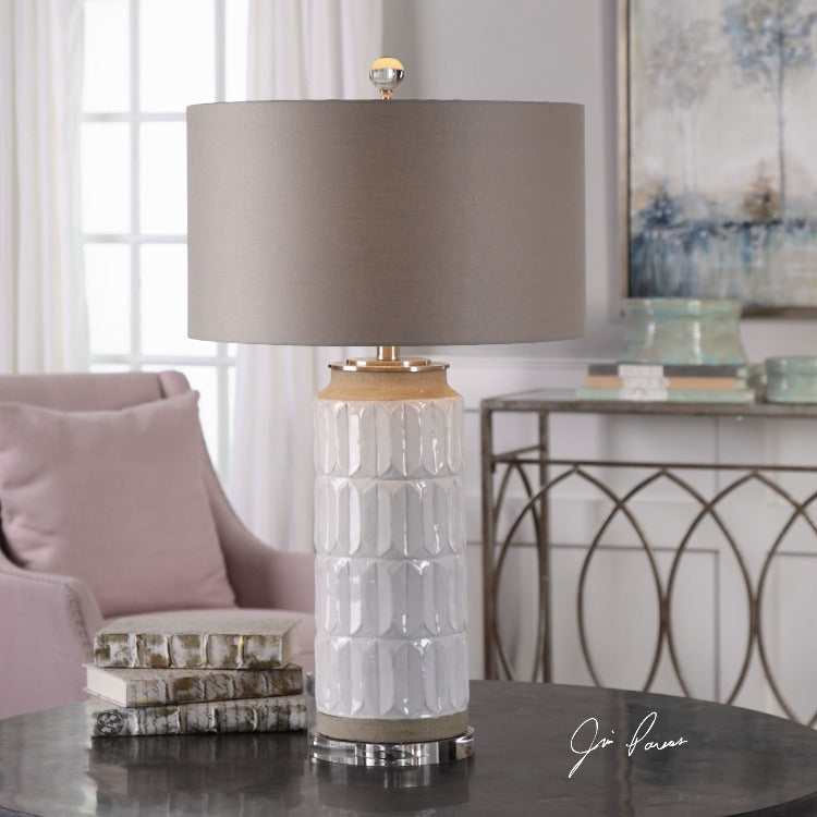 Athilda Gloss White Table Lamp - taylor ray decor
