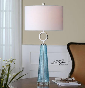 Navier Blue Glass Table Lamp - taylor ray decor