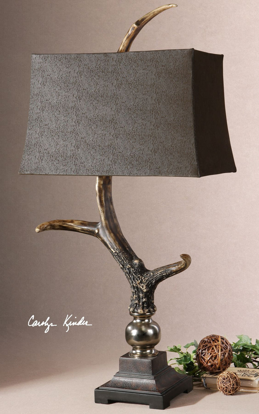 Stag Horn Dark Shade Table Lamp - taylor ray decor