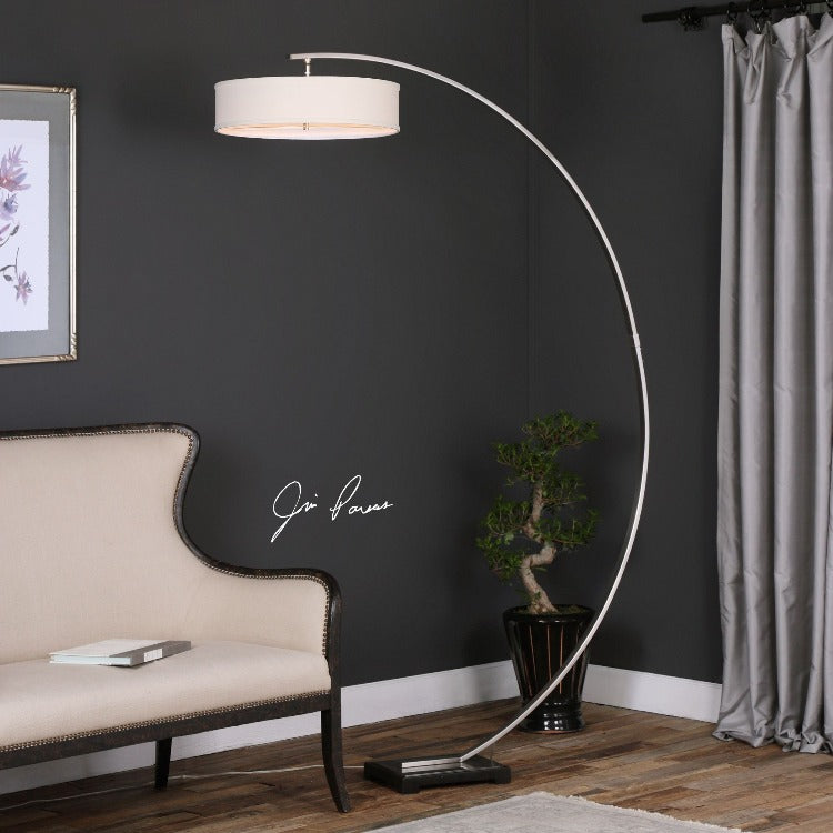 Tagus Nickel Arc Floor Lamp