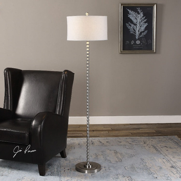 Sherise Beaded Nickel Floor Lamp