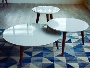 3-Piece Moore Modern Round Tables Set in White