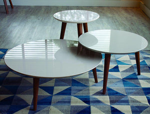 3-Piece Moore Modern Round Tables Set in Off White