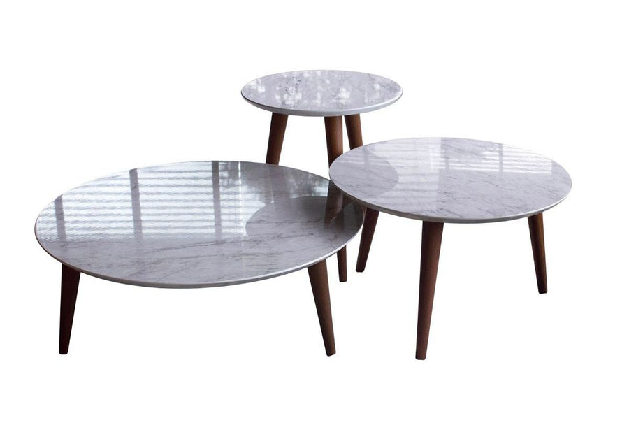 3-Piece Moore Modern Round Tables Set in Grey