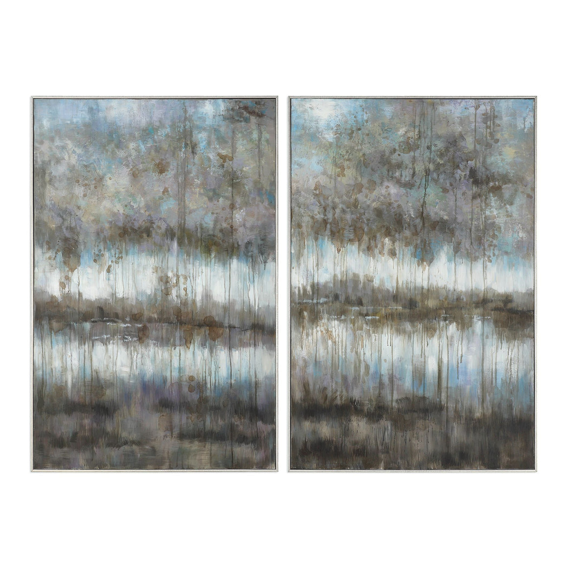 Gray Reflections Hand Painted Canvases S/2