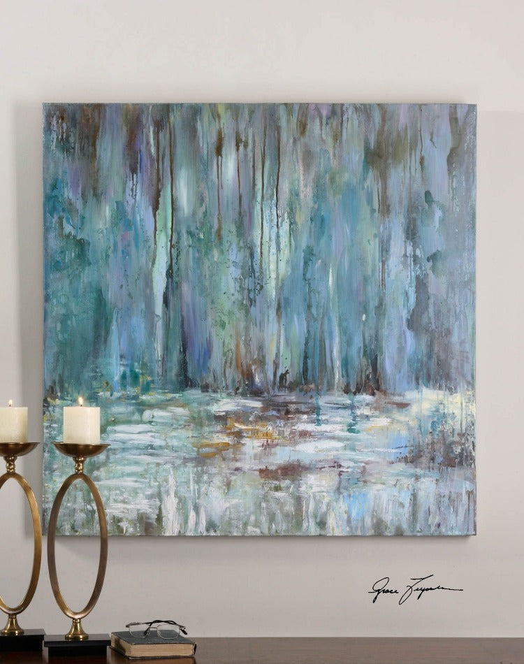 Blue Waterfall Hand Painted Canvas - taylor ray decor