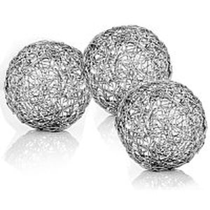 "Guita Silver Wire Spheres/4""D - Box of 3 - taylor ray decor"