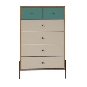Joy 6-Drawer Tall Dresser in Blue Off-White and Oak