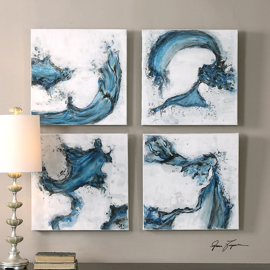 Swirls In Blue Abstract Art, S/4 - taylor ray decor