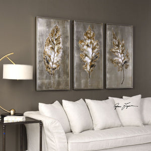 Champagne Leaves Modern Art S/3 - taylor ray decor