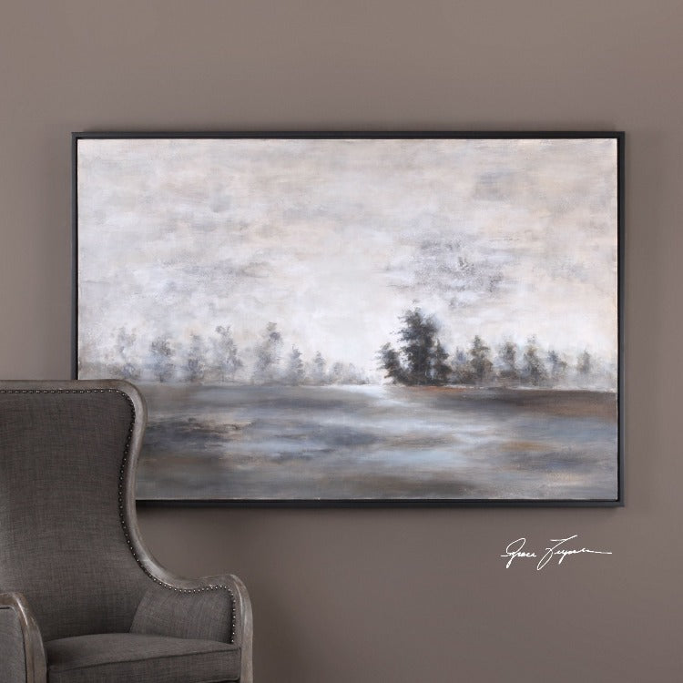 Evening Mist Hand Painted Landscape Art - taylor ray decor