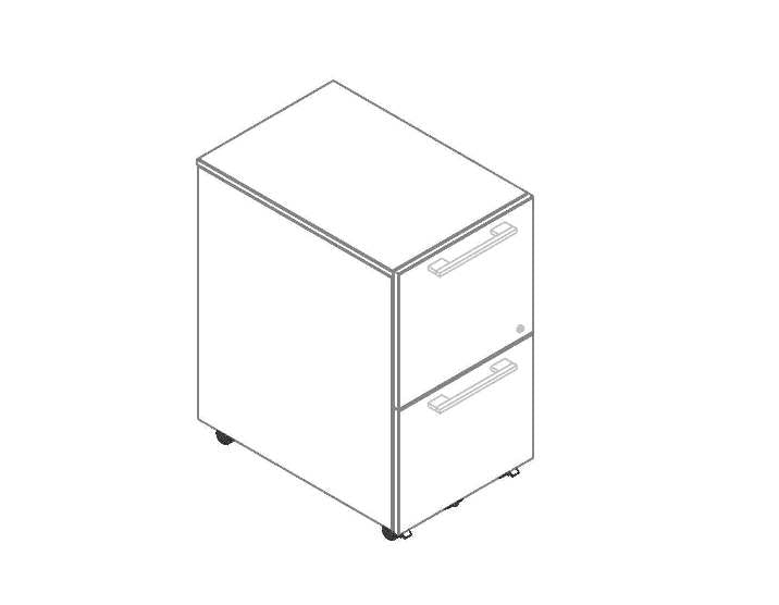 Concept 400E Mobile File Drawer Pedestal (Perspective View Schematic)