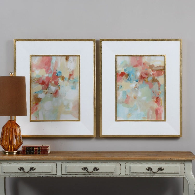 A Touch Of Blush And Rosewood Fences Art, S/2 - taylor ray decor
