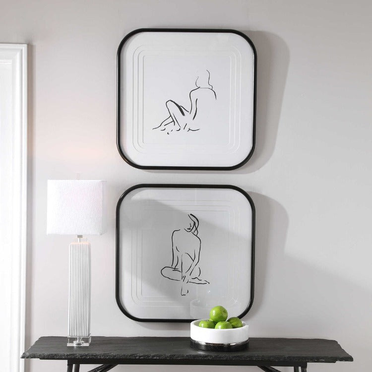 FEMININE SKETCH FRAMED PRINTS, S/2