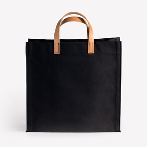 Amsterdam Cotton Canvas Bag in Black Saddle