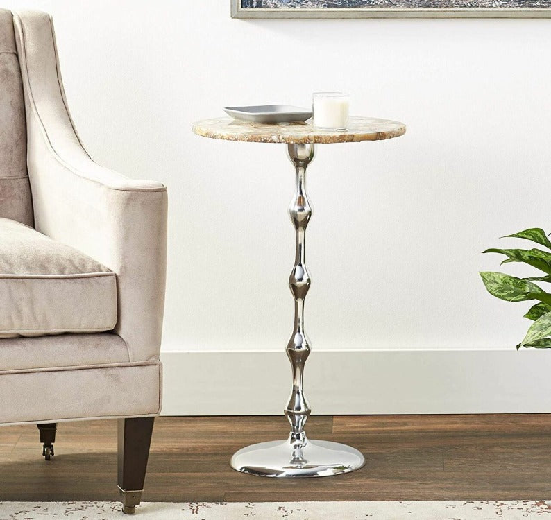 Agata Tall Side Table with Agate Top - taylor ray decor