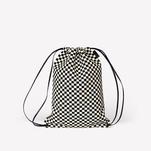 Versatile Cinch Bag in Checker Cotton & Polyester