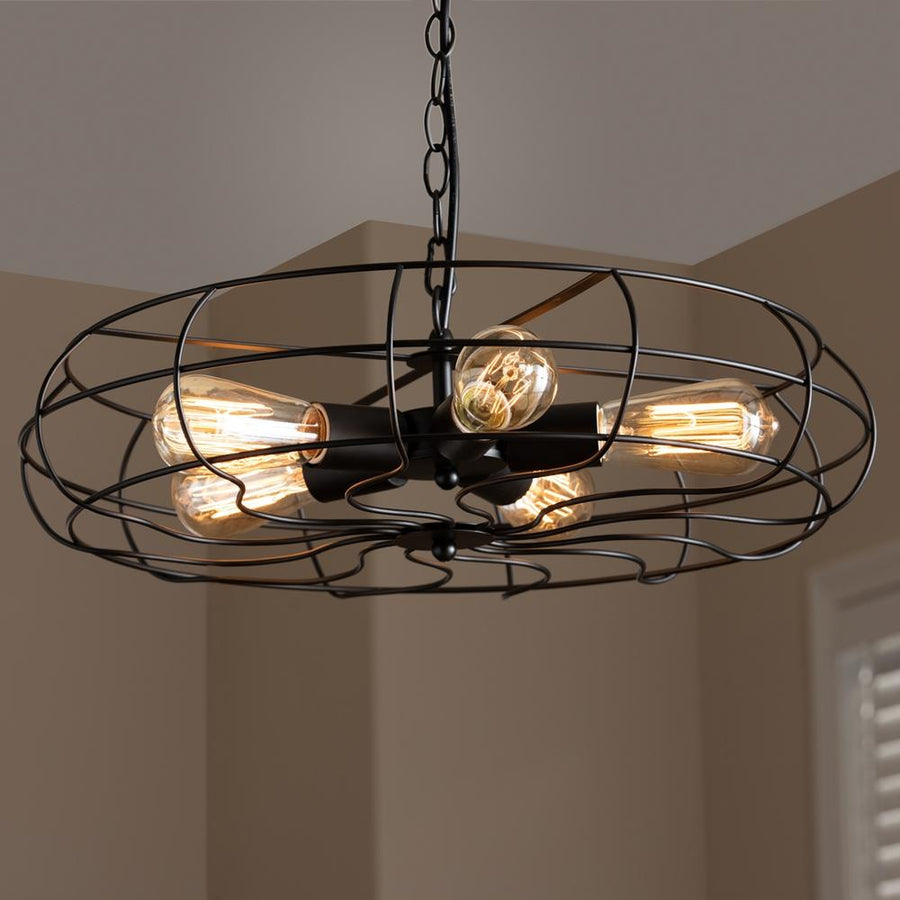Baxton Studio Jisa Vintage Industrial Black Metal 5-Light Cage Fan Pendant Light