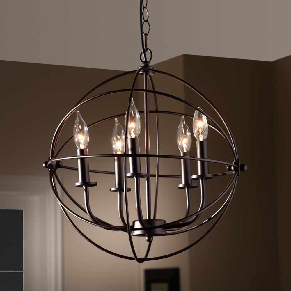 Baxton Studio Nerea Vintage Industrial Dark Bronze Metal 5-Light Orb Cage Chandelier