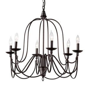 Baxton Studio Palmira Transitional Dark Bronze Metal 6-Light Chandelier