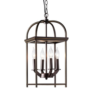 Baxton Studio Linez Vintage Rustic Farmhouse Dark Bronze Metal 4-Light Lantern Pendant Light