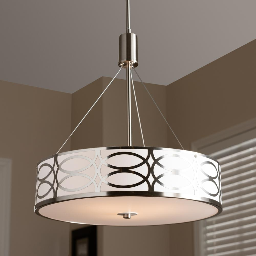 Baxton Studio Milene Modern and Contemporary White Fabric and Brush Nickel Metal Drum Pendant Light