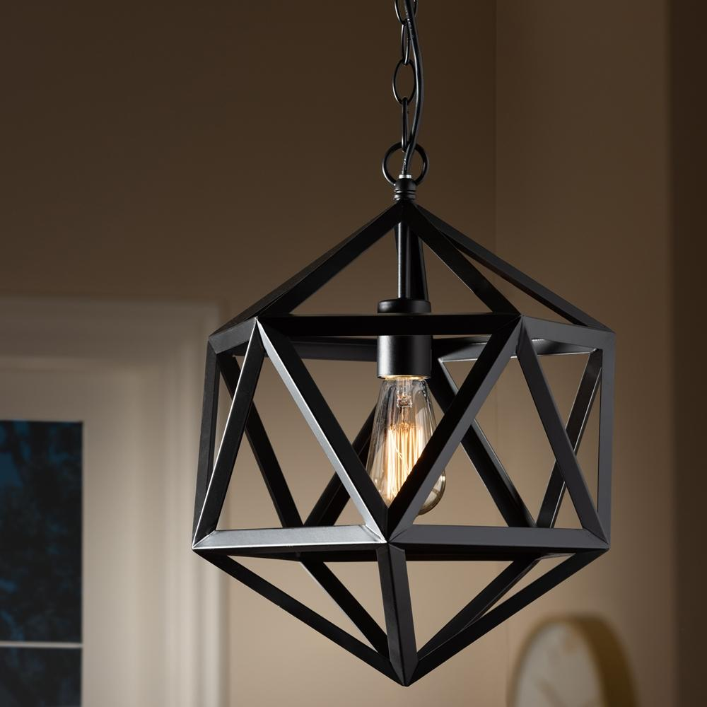 Baxton Studio Ginessa Modern and Contemporary Black Metal Geometric Pendant Light