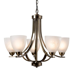 Baxton Studio Ciaran Modern and Contemporary Antique Brass Metal and Frosted Glass 5-Light Chandelier