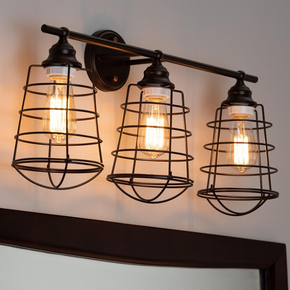 Baxton Studio Lieke Vintage Industrial Dark Bronze Metal 3-Light Cage Wall Sconce Lamp