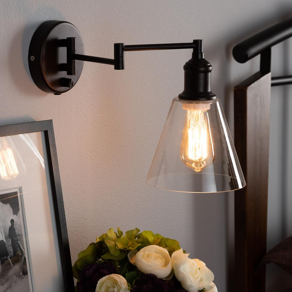 Baxton Studio Meike Vintage Rustic Farmhouse Dark Bronze Metal Swing Arm Wall Sconce Lamp