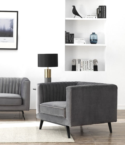 Vandam Velvet Armchair in Charcoal Grey (see metal leg detail)