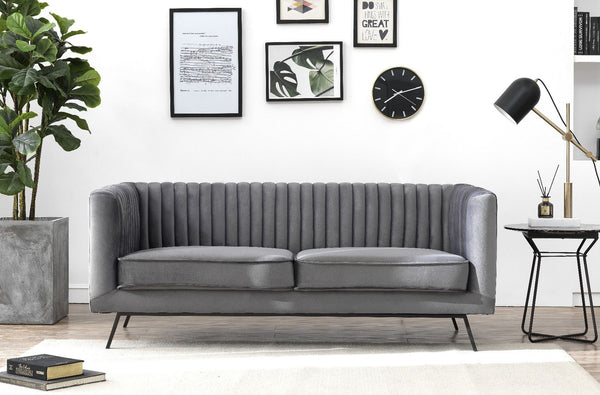 Vandam Velvet Loveseat in Charcoal Grey